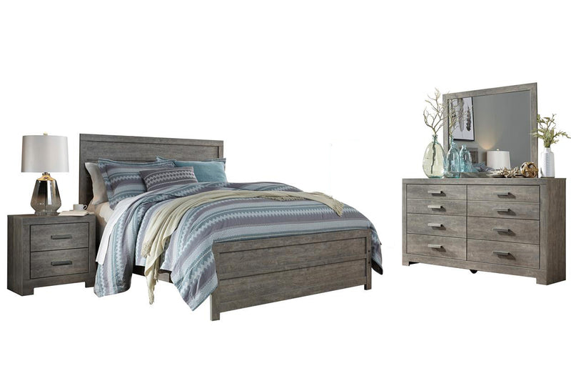 Ashley Culverbach 4PC E King Panel Bedroom Set in Gray - The Furniture Space.