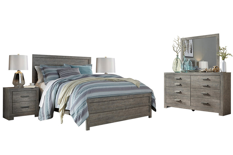 Ashley Culverbach 5PC E King Panel Bedroom Set with Two Nightstand in Gray - The Furniture Space.