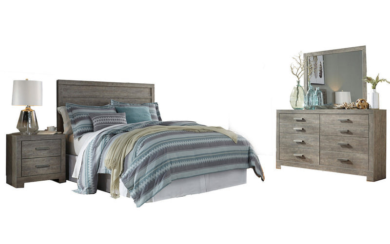 Ashley Culverbach 4PC Queen Panel Headboard Bedroom Set in Gray - The Furniture Space.