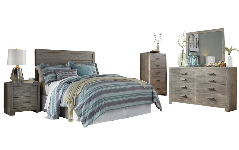 Ashley Culverbach 5PC Queen Panel Headboard Bedroom Set with Chest in Gray - The Furniture Space.
