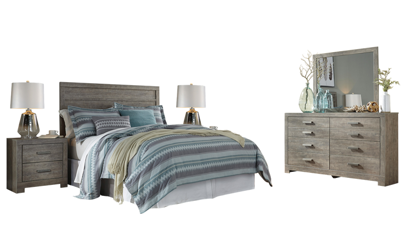 Ashley Culverbach 5PC E King Panel Headboard Bedroom Set with Two Nightstand in Gray - The Furniture Space.