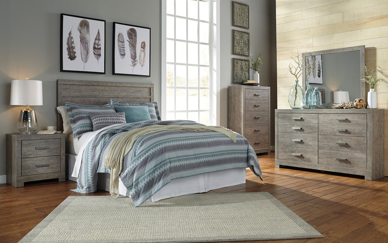 Ashley Culverbach 4PC E King Panel Headboard Bedroom Set in Gray - The Furniture Space.