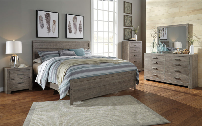 Ashley Culverbach 6PC E King Panel Bedroom Set with Two Nightstand & Chest in Gray - The Furniture Space.