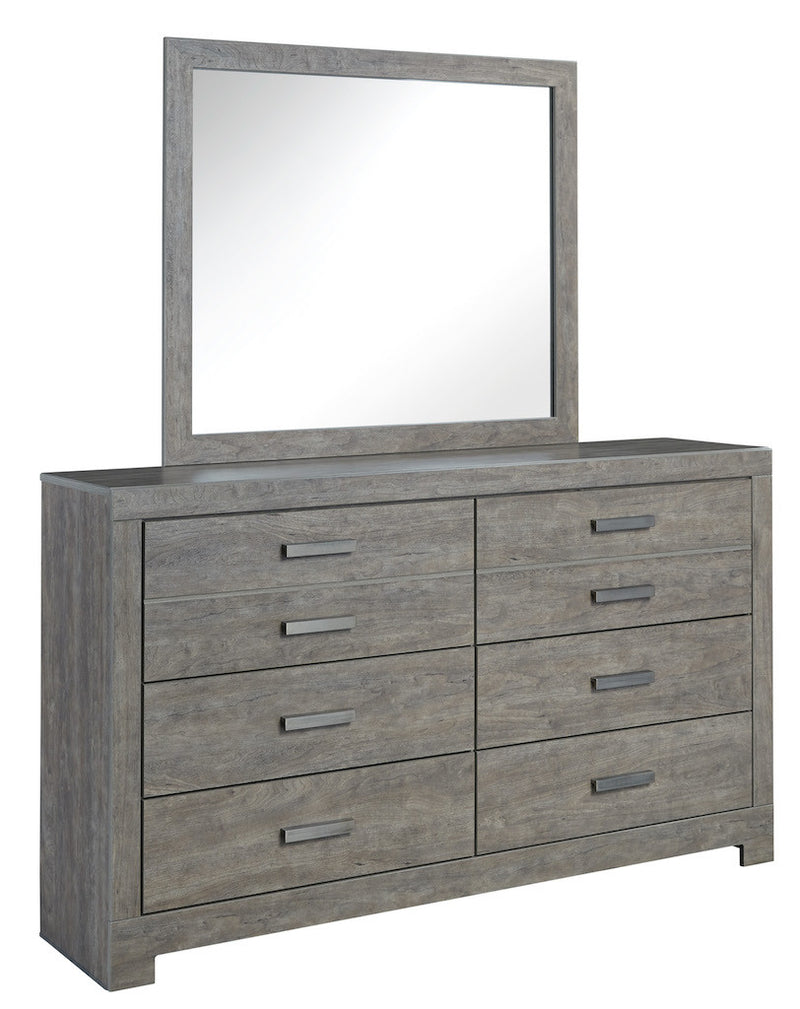 Ashley Culverbach Six Drawer Dresser and Mirror Weathered Driftwood in Gray - The Furniture Space.