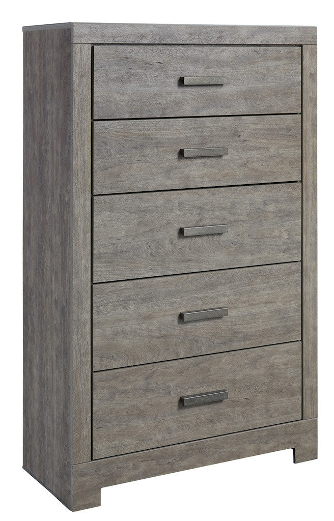 Ashley Culverbach 5PC E King Panel Bedroom Set with Chest in Gray - The Furniture Space.