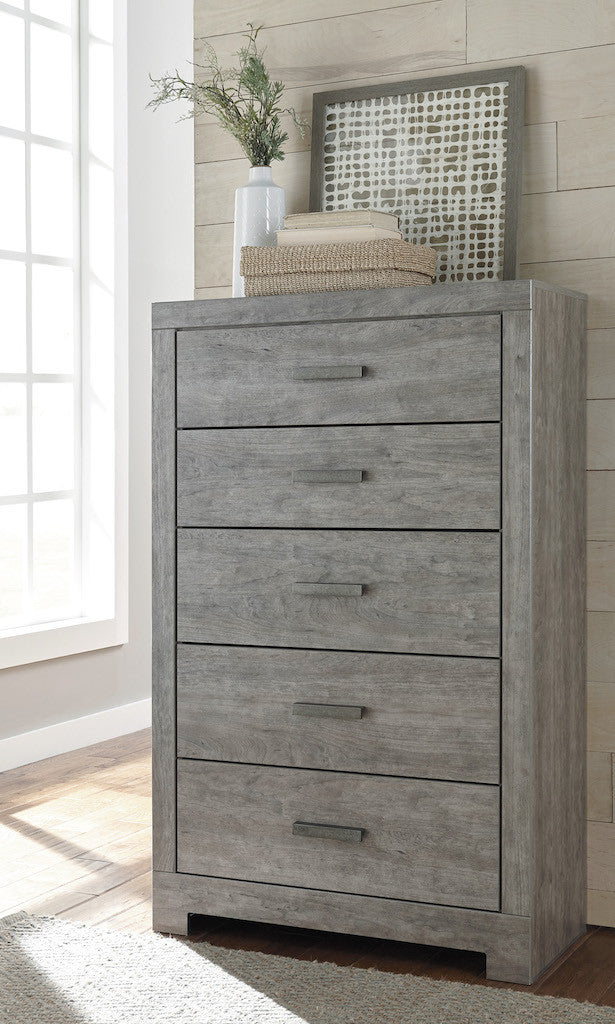 Ashley Culverbach Five Drawer Chest Weathered Driftwood in Gray - The Furniture Space.