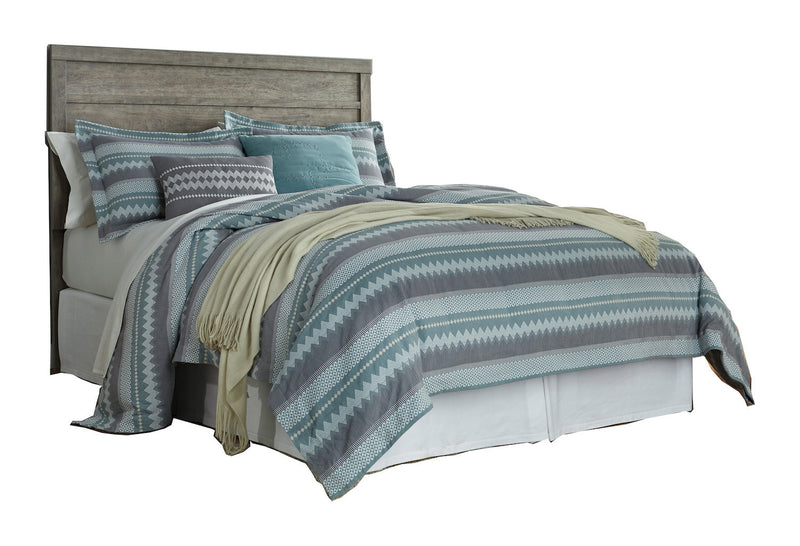 Ashley Culverbach Queen Panel Headboard Weathered Driftwood in Gray - The Furniture Space.