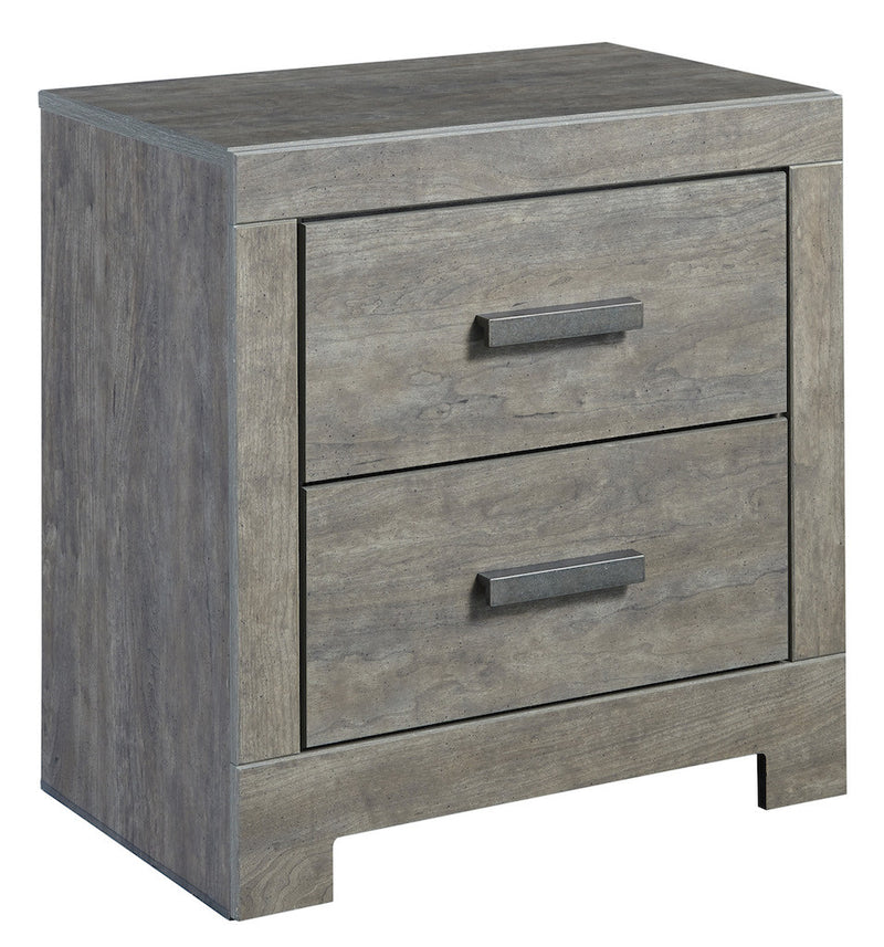 Ashley Culverbach Two Drawer Nightstand Weathered Driftwood in Gray - The Furniture Space.