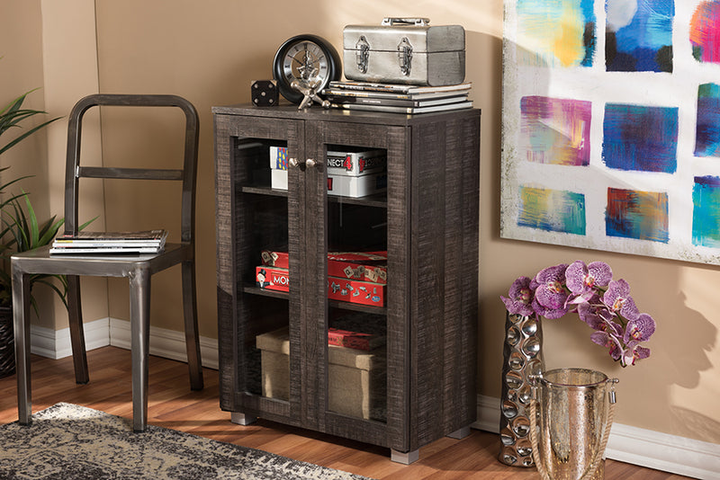 Contemporary Sideboard Storage Cabinet in Brown