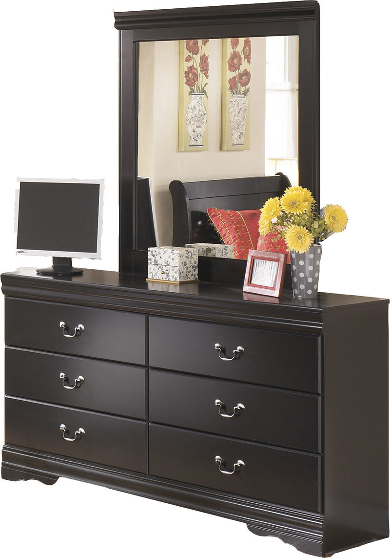 Ashley Huey Vineyard Six Drawer Dresser and Mirror in Black