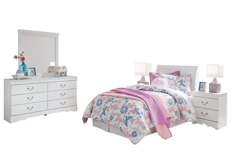 Ashley Anarasia 5PC Twin Sleigh Headboard Bedroom Set With 2 Nightstands In White