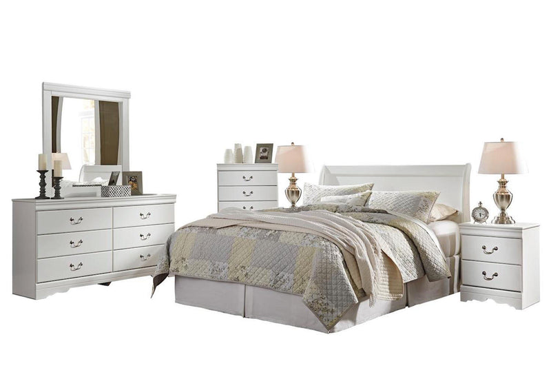 Ashley Anarasia 6PC Queen Sleigh Headboard Bedroom Set  With 2 Nightstand & Chest In White