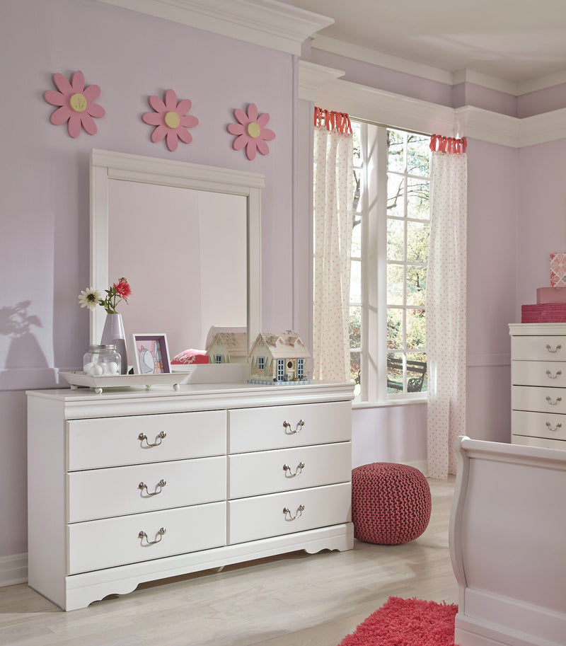 Ashley Anarasia Six Drawer Dresser and Mirror In White