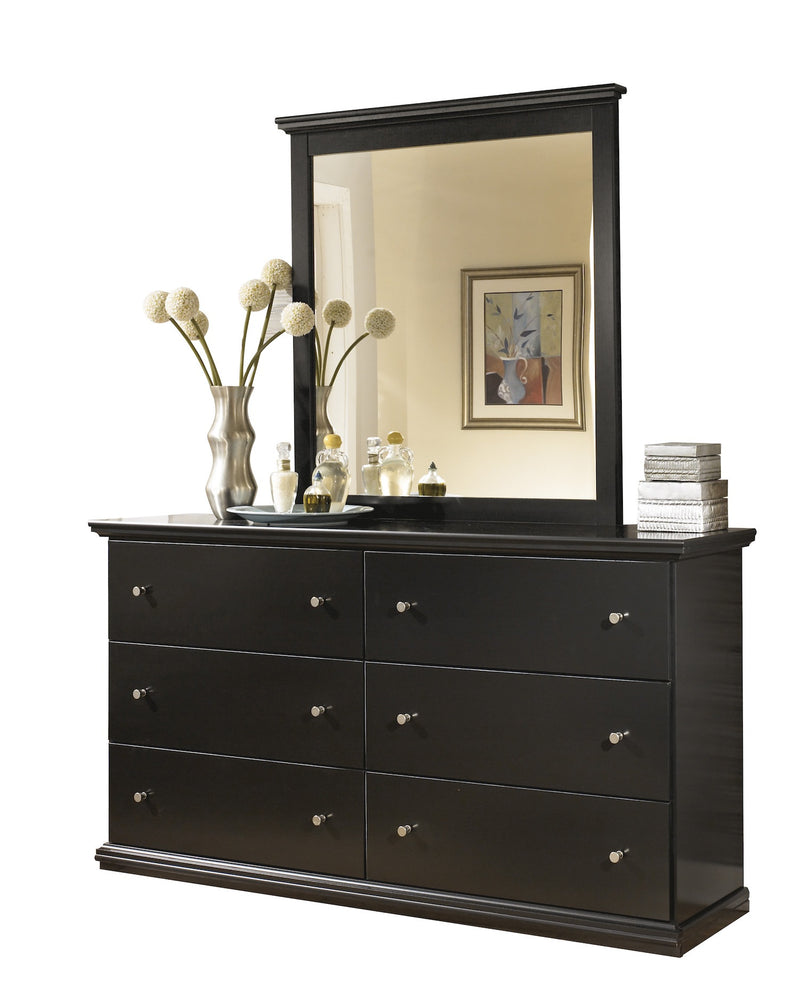 Ashley Maribel Six Drawer Dresser and Mirror in Black