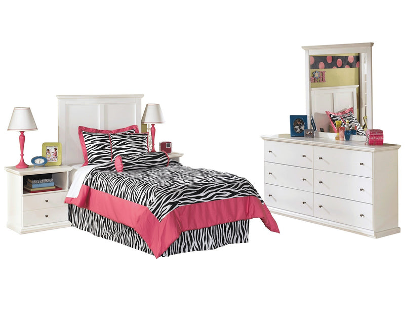 Ashley Bostwick Shoals 5 PC Twin Panel Bedroom Set with two Nightstands in  White