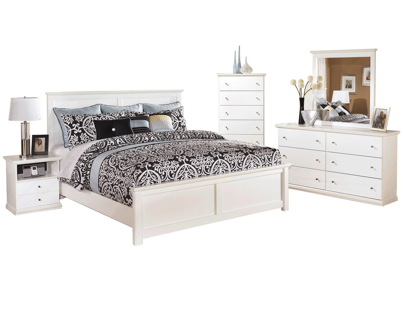 Ashley Bostwick Shoals 5 PC E King Panel Headboard Bedroom Set with Chest in White