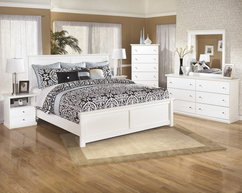 Ashley Bostwick Shoals 5 PC E King Panel Bedroom Set with two Nightstands in White