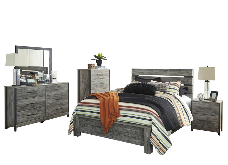 Ashley Cazenfeld 5PC Queen Panel Bedroom Set With Chest In Black/Gray