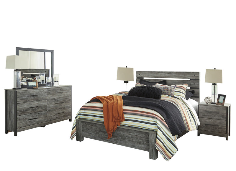 Ashley Cazenfeld 5PC Queen Panel Bedroom Set With Two Nightstand In Black/Gray