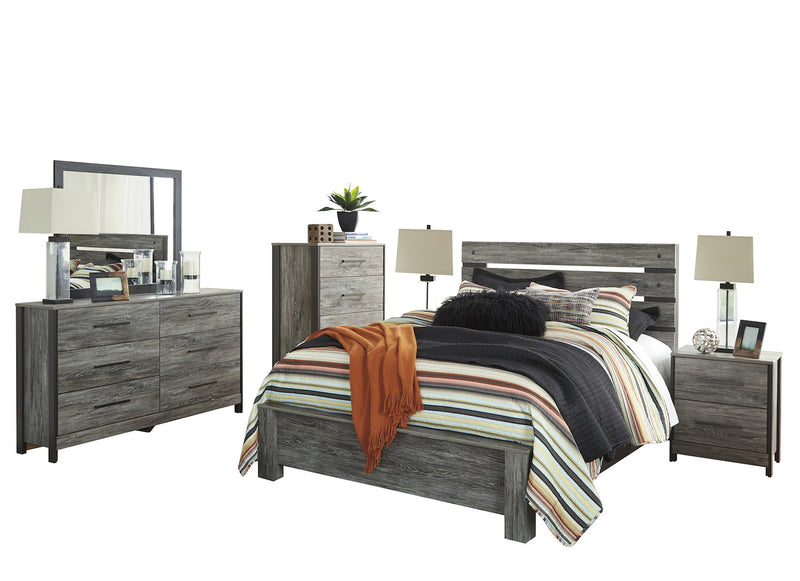 Ashley Cazenfeld 6PC Queen Panel Bedroom Set With 2 Nightstand & Chest In Black/Gray