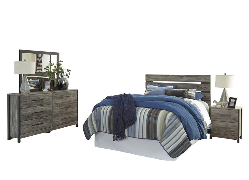 Ashley Cazenfeld 4PC Queen Panel Bedroom Set In Black/Gray
