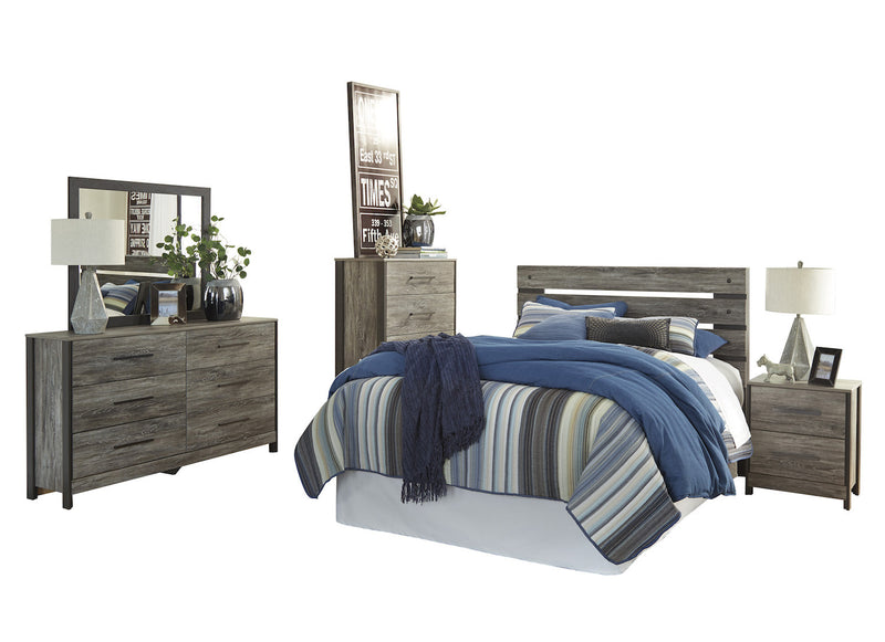 Ashley Cazenfeld 5PC E King Panel Bedroom Set With Chest In Black/Gray