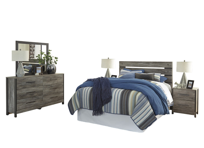 Ashley Cazenfeld 5PC Queen Panel  Bedroom Set With 2 Nightstand In Black/Gray