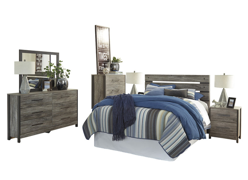 Ashley Cazenfeld 6PC E King Panel Bedroom Set With Two Nightstand & Chest In Black/Gray