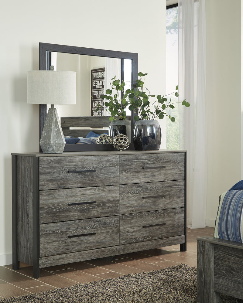 Ashley Cazenfeld Six  Drawer Dresser & Mirror  In Black/Gray