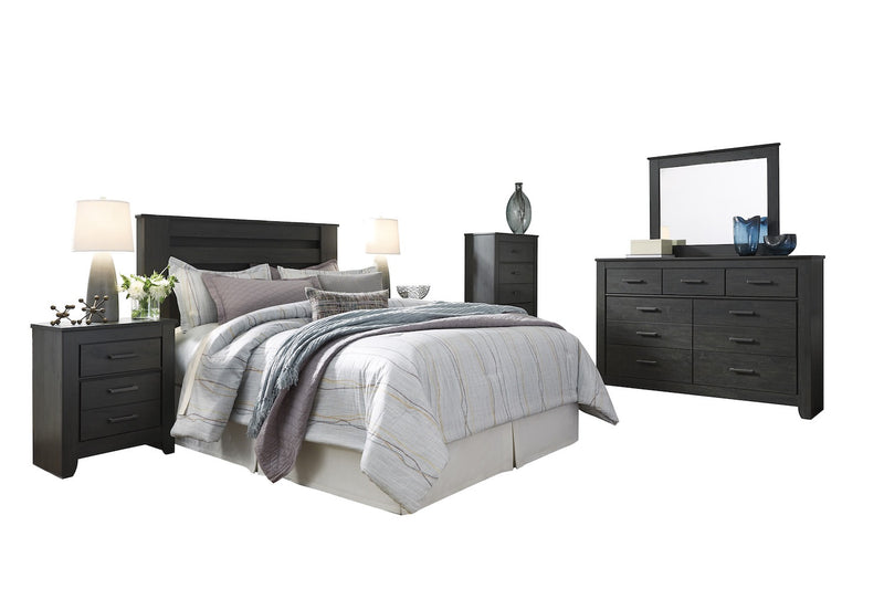 Ashley Brinxton 6PC Queen Full Poster Headboard Bedroom Set With Two Nightstand & Chest In Black