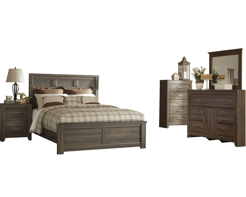 Ashley Juararo 5PC Queen Panel Bedroom Set With Chest In Dark Brown