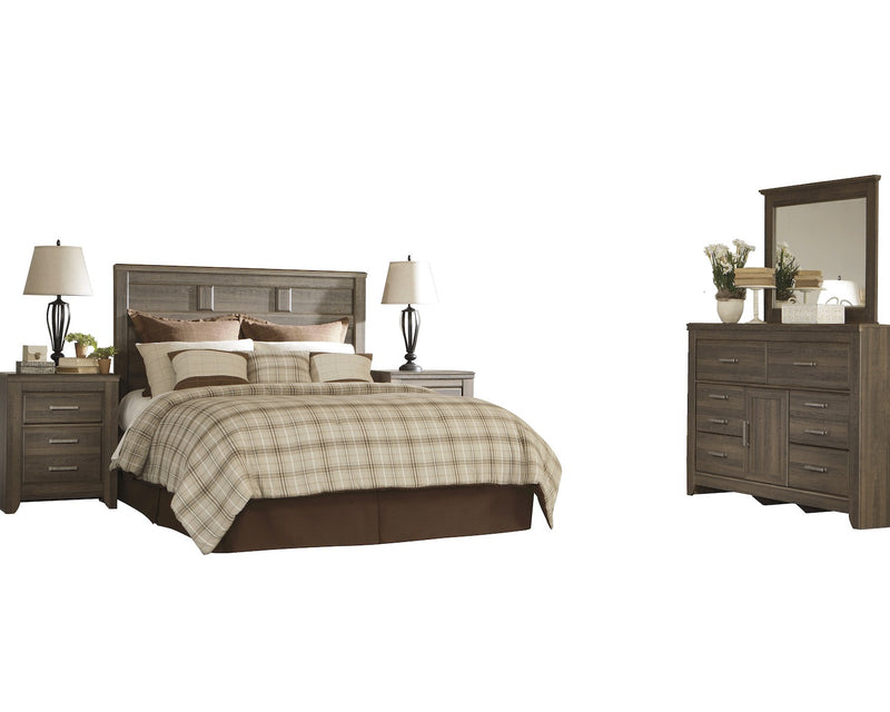 Ashley Juararo 5PC Queen Panel Bedroom Set With 2 Nightstand In Dark Brown