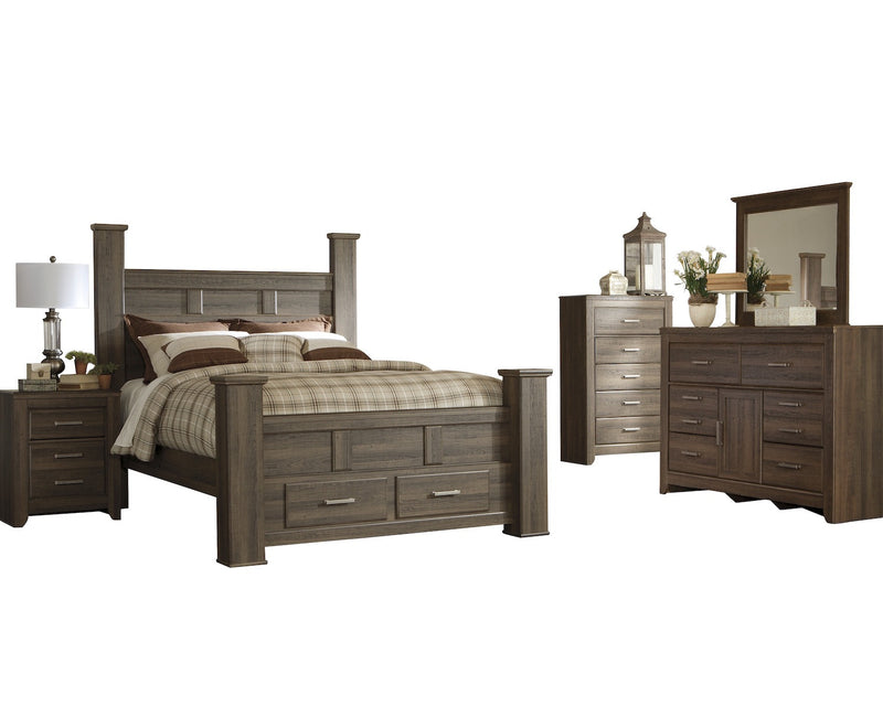 Ashley Juararo 5PC Queen Storage Bedroom Set With 2 Nightstand In Dark Brown