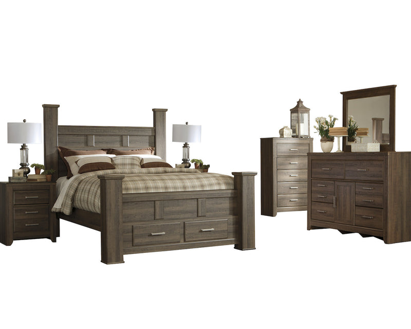 Ashley Juararo 6PC Queen Storage Bedroom Set With 2 Nightstand & Chest In Dark Brown