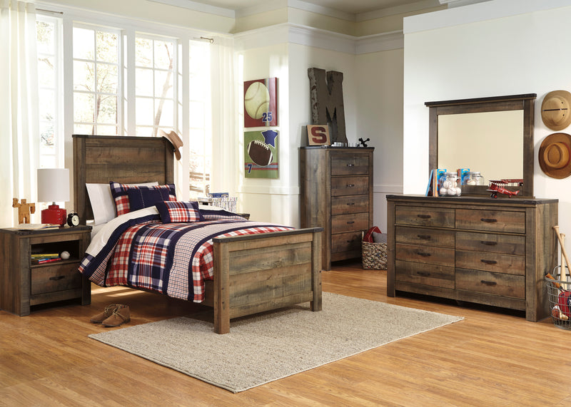 Ashley Trinell 5PC Bedroom Set Full Panel Bed Two Nightstand Dresser Mirror in Brown - The Furniture Space.