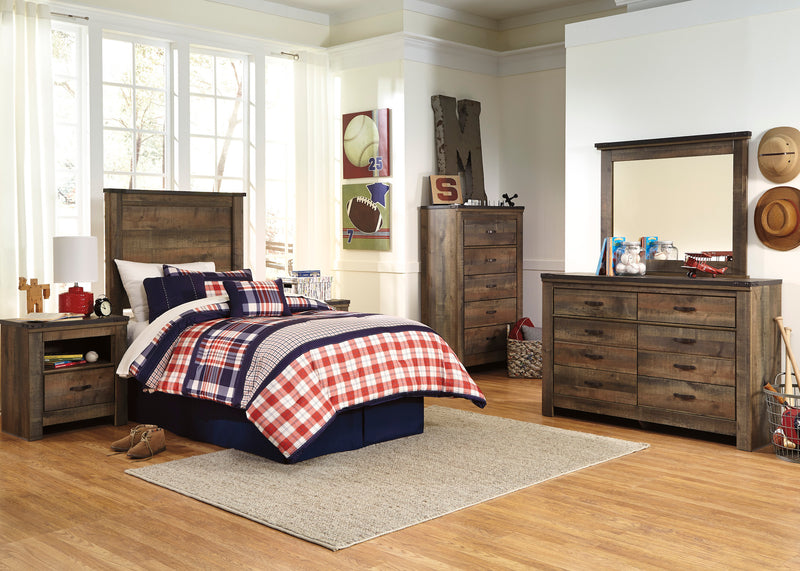 Ashley Trinell 4PC Bedroom Set Twin Panel Headboard One Nightstand Dresser Mirror in Brown - The Furniture Space.
