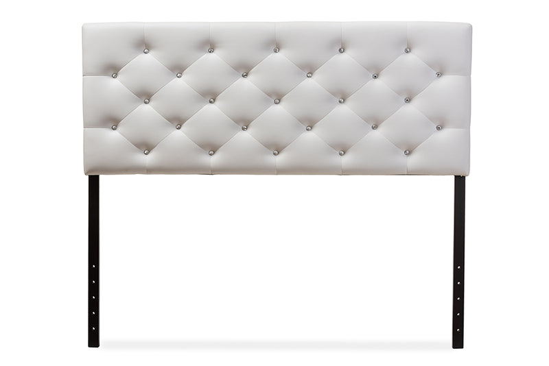 Contemporary Button Tufted Queen Size Headboard in White Faux Leather - The Furniture Space.