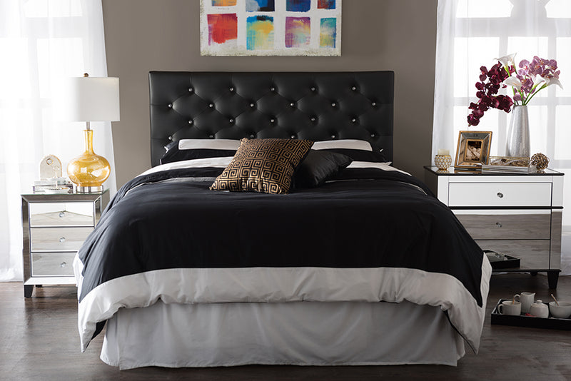 Contemporary Button Tufted Queen Size Headboard in Black Faux Leather - The Furniture Space.