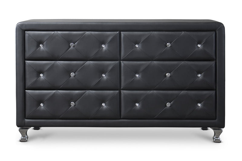 Contemporary Dresser in Black Faux Leather - The Furniture Space.