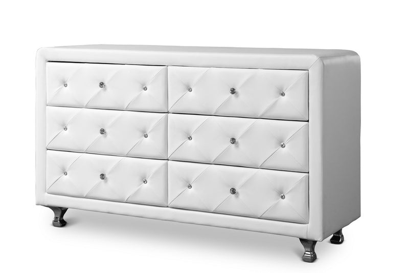 Contemporary Dresser in White Faux Leather