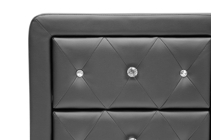 Contemporary Crystal Button Nightstand in Black Faux Leather - The Furniture Space.