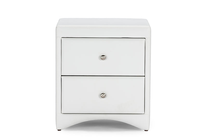 Contemporary Nightstand in White Faux Leather - The Furniture Space.