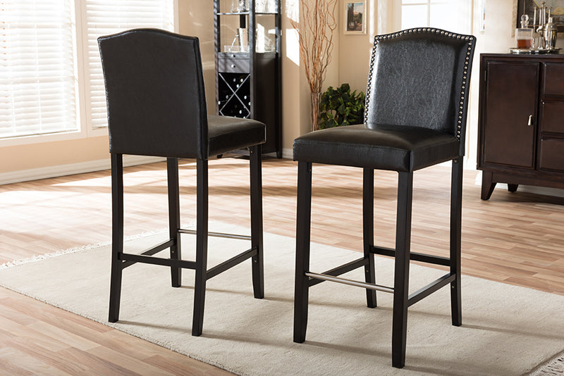 Modern 2 Bar Stools with Nail Trim in Black Faux Leather