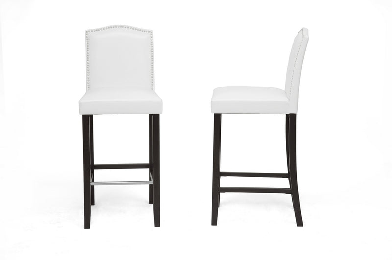 Modern 2 Bar Stools with Nail Trim in White Faux Leather