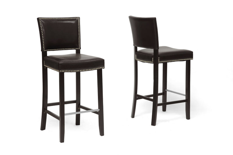 Modern 2 Bar Stools with Nail Trim in Brown Faux Leather