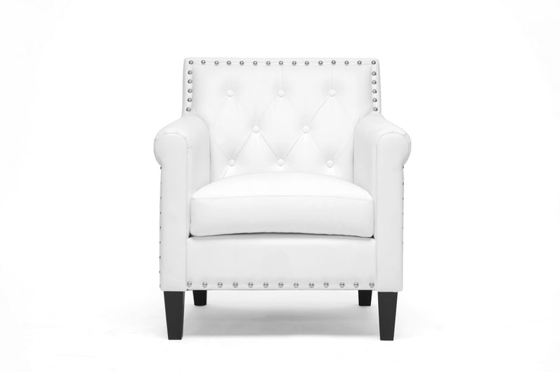 Arm Chair in White Faux Leather - The Furniture Space.