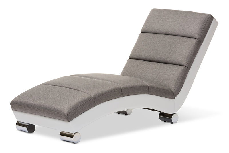 Contemporary Chaise Lounge Chair in Grey Fabric - The Furniture Space.