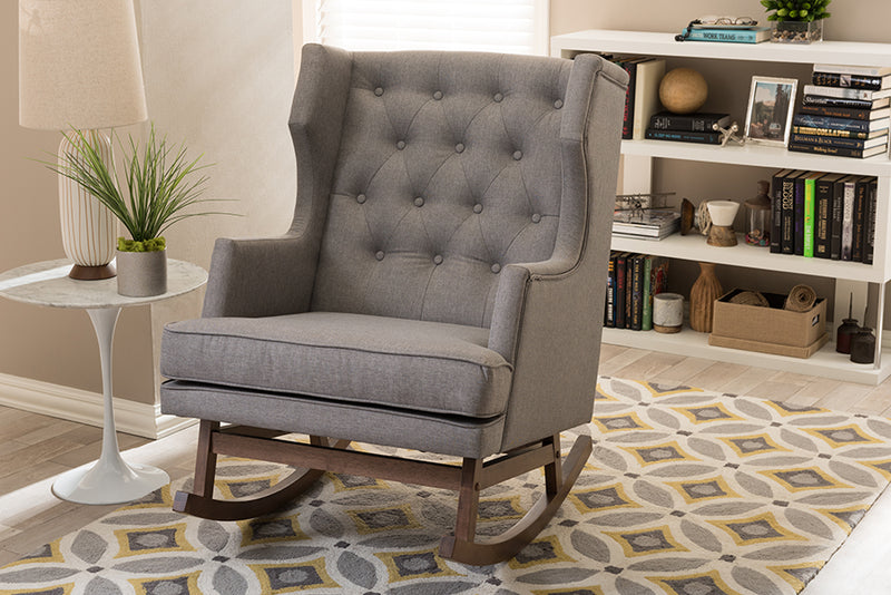 Mid-Century Wingback Rocking Chair in Grey Fabric