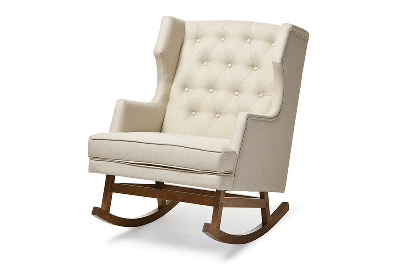 Mid-Century Wingback Rocking Chair in Light Beige Fabric