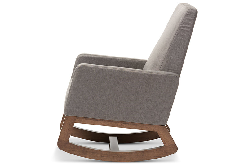 Mid-Century Rocking Chair in Grey Fabric